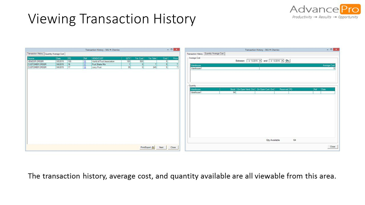 Viewing Transaction History