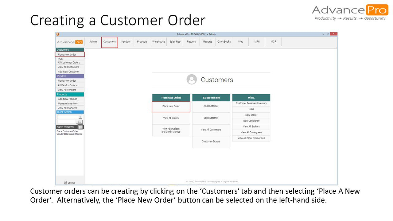Creating a Customer Order