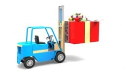 Forklift with Gift Depositphotos 26520259 xs1